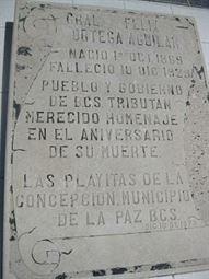 Placa sobre la tumba del Gral. Félix Ortega Aguilar.